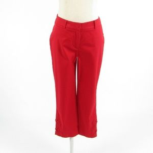 Red cotton blend TALBOTS fit capri pants 0P